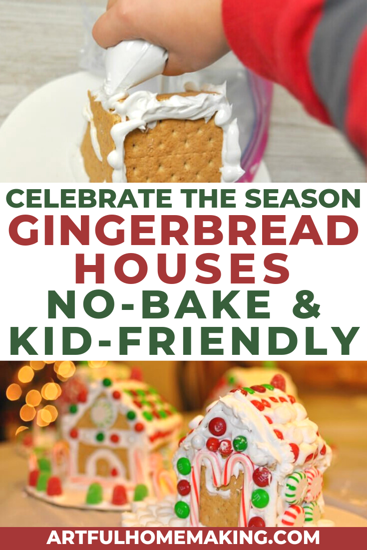 Easy no-bake gingerbread houses are a fun Christmas tradition! We've been making them for many years now, and my kids love them! You don't even have to bake anything, just whip up some frosting and stick it all together! #gingerbread #gingerbreadhouse #christmas #christmastreats #holidaytreats