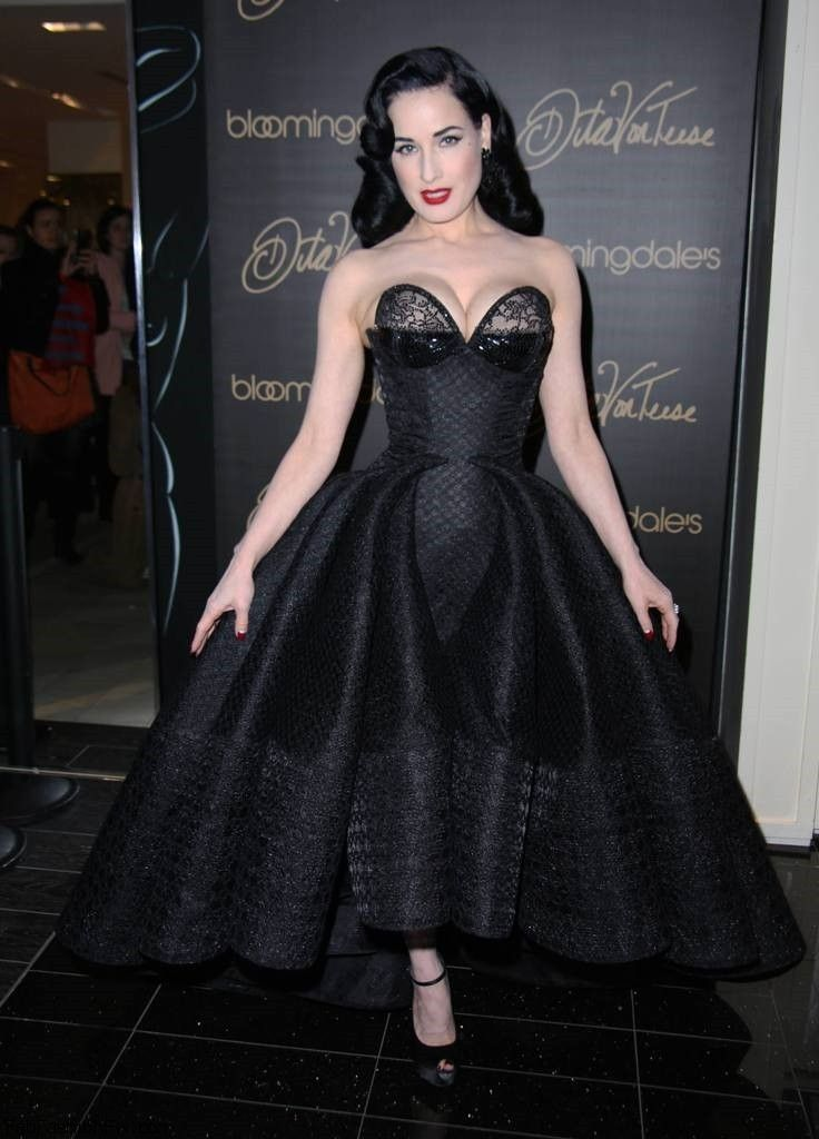 b394d3935 Dita Von Teese in Zac Posen dress at the launch of her vintage lingerie  collection for Bloomingdales