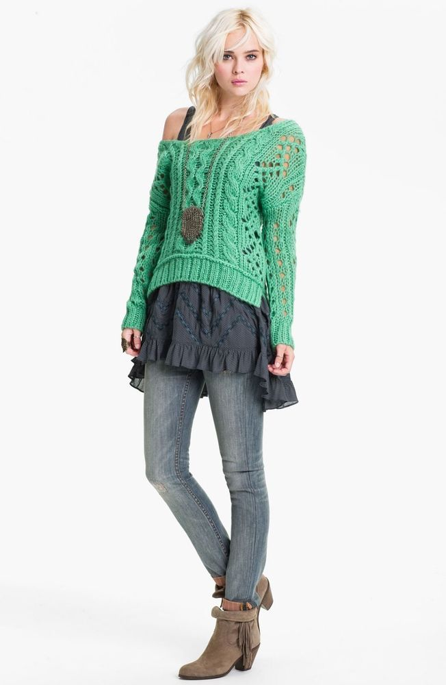 FREE PEOPLE Green Crochet Off the Shoulder Boat Neck Cable Knit ...