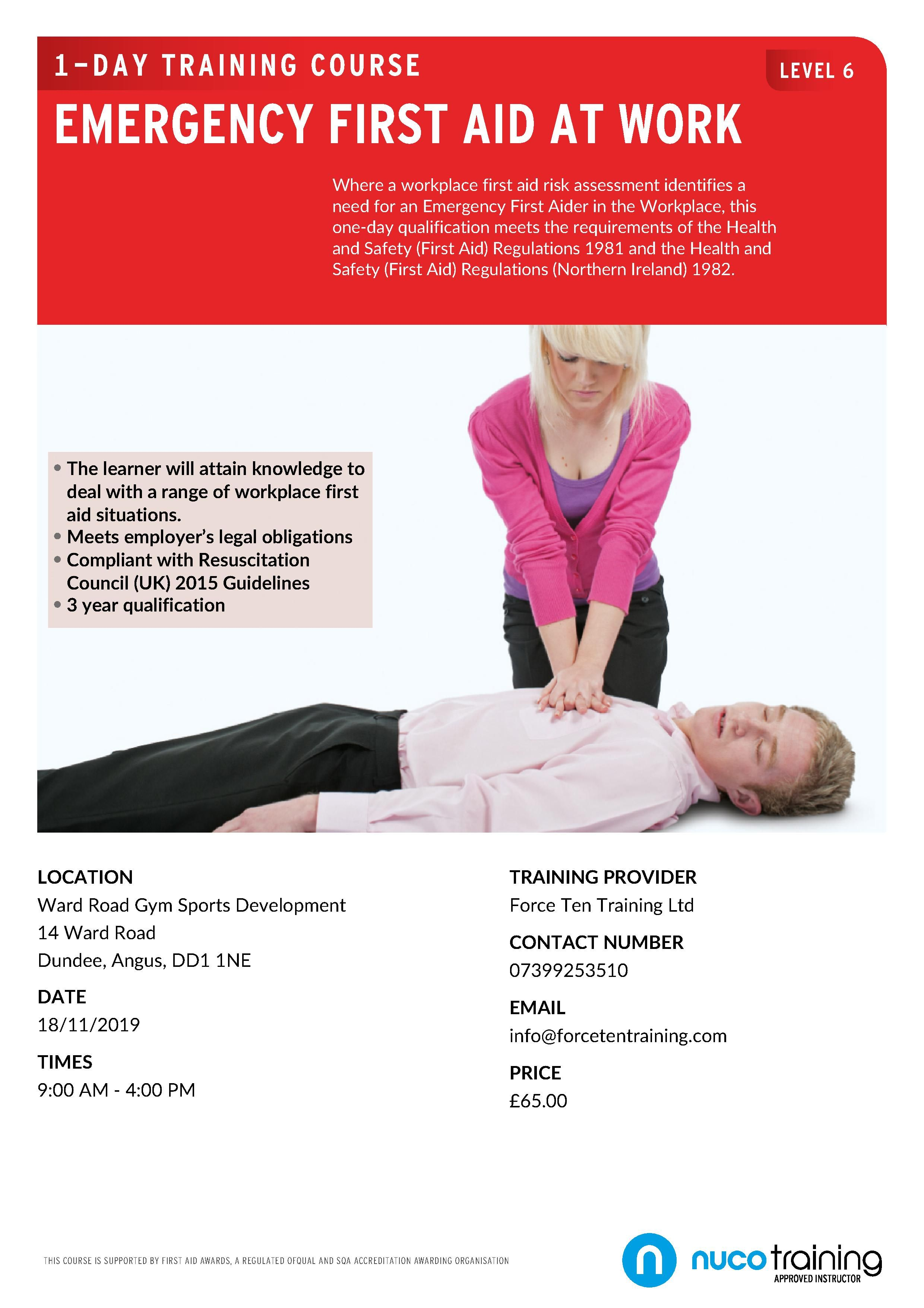 Level 6 efaw dundee safety and first aid cpr training