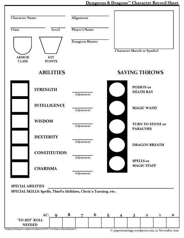 basic dungeons and dragons character sheet basic dungeons & dragons character sheet | character sheet