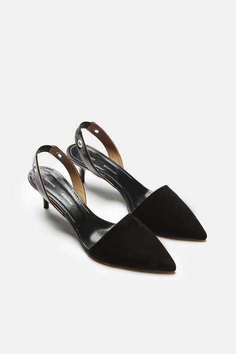 Suede Sling Back Kitten Heel Black Kitten Heels Heels Black