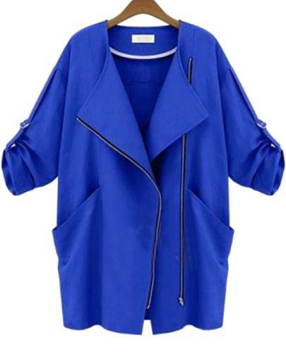 Blue Long Sleeve Zipper Pockets Slim Coat