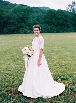 Short Sleeve Ballgown Wedding Dress With Lace Top And Sweetheart