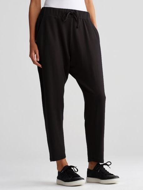 cd43b14e909 NWT Eileen Fisher Stretch Tencel Fleece Slouchy Drawstring Ankle Pants  Black L  EileenFisher  SlouchyDrawstringAnkle