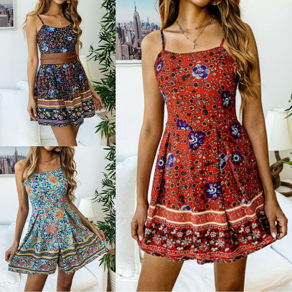 d248cab71ab (eBay Ad) US Women Boho Floral Long Maxi Dress Evening Party Beach Dresses  Summer