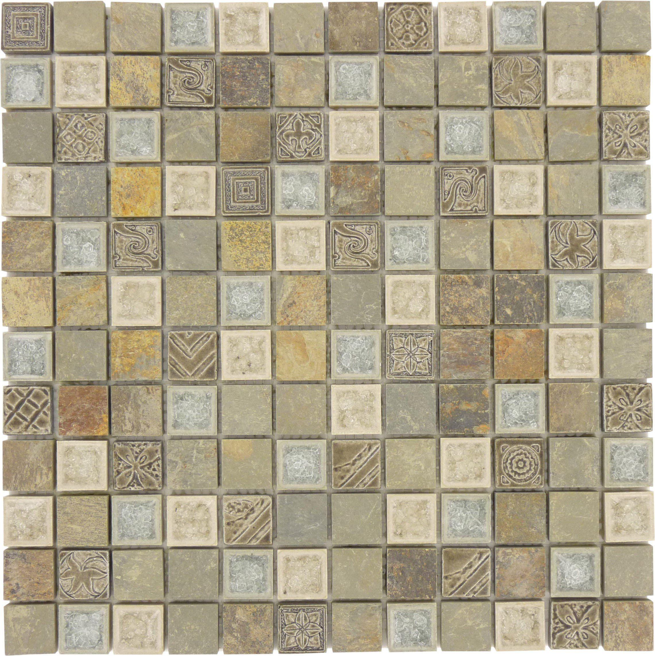 1 X 1 Grey Glass And Stone Square Tile Tumbled Ts 906 Grey Glass Tiles Square Tile