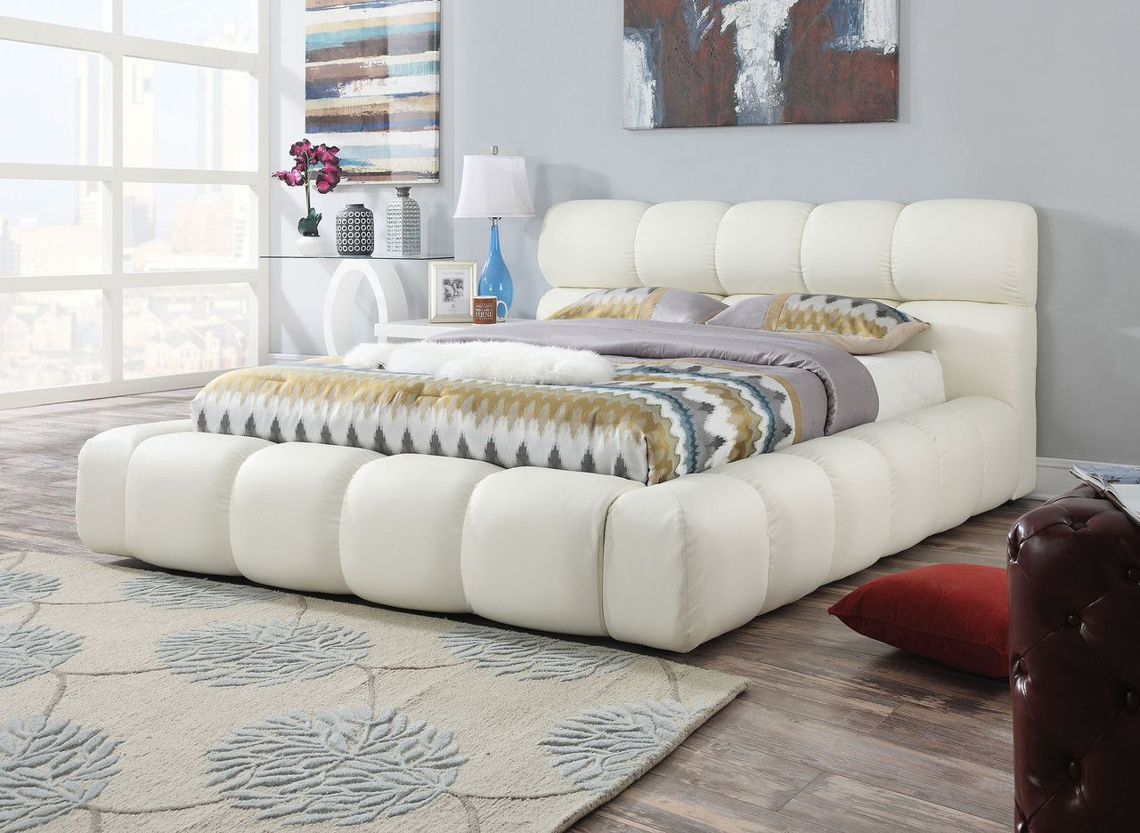 acacia ivory pu queen bed 25050q queen beds acacia and king beds