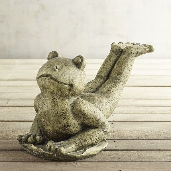 Pier 1 Imports Sliding Yoga Frog ($70) ❤ liked on Polyvore featuring home, home decor, green, pier 1 imports, handmade home decor, distressed home decor and green home decor