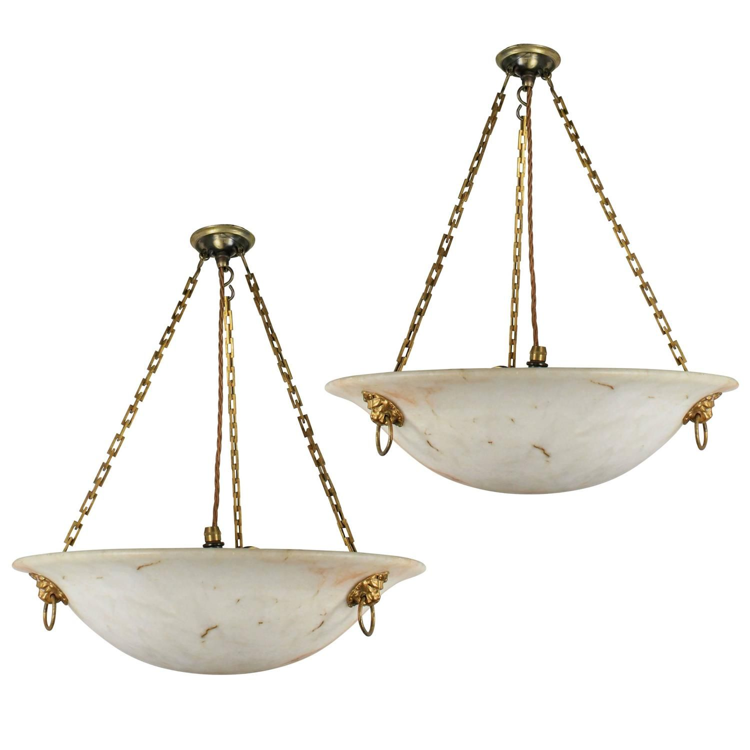 Pair of alabaster chandeliers pendant lighting chandeliers and pair of alabaster chandeliers 1stdibs aloadofball Image collections
