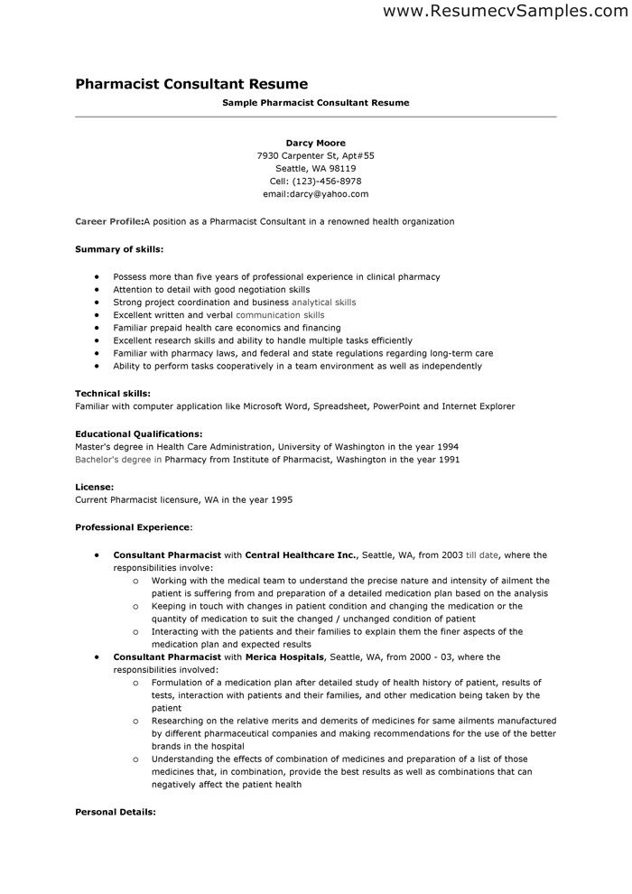 Pharmacist Resume. 7 Best Resumes Images On Pinterest Advertising