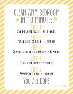 how to teach your child to clean any bedroom in ten minutes without