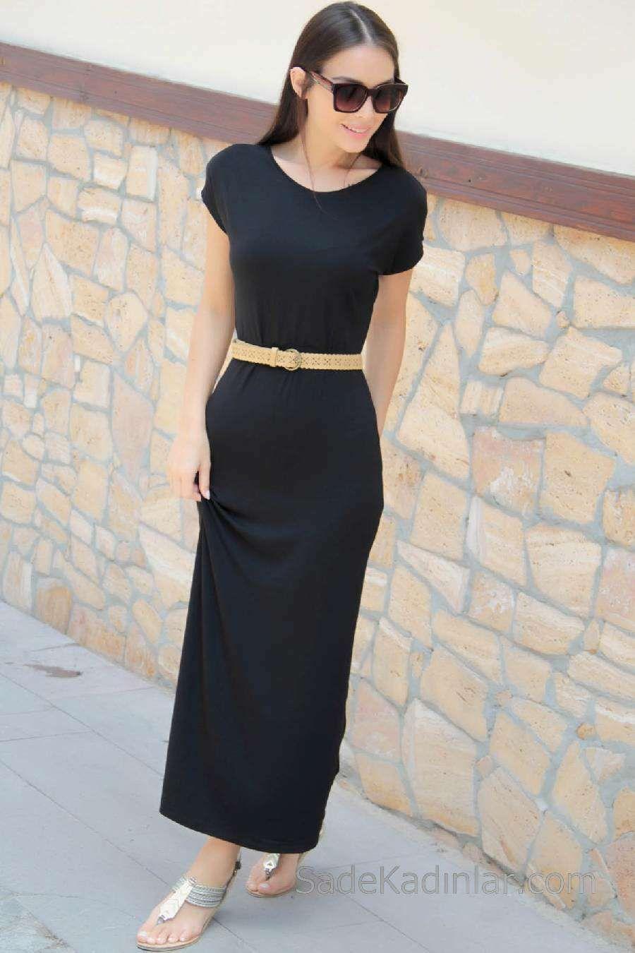 2020 Gunluk Elbise Modelleri Siyah Uzun Yuvarlak Yaka Kemerli Kisa Kollu Elbise Modelleri Elbise Moda Stilleri