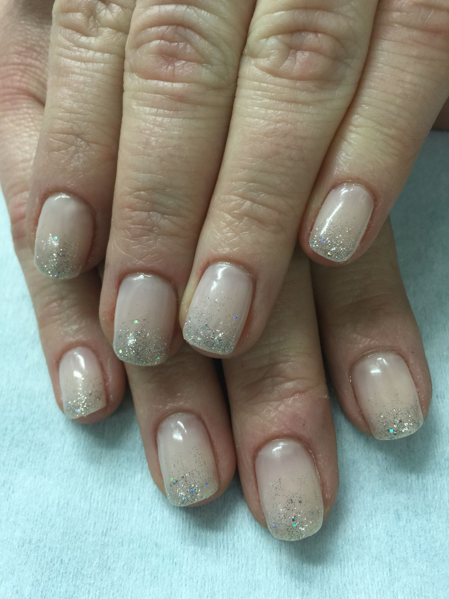 Gradient French Manicure: Nude Nails With Silver Glitter Gradient French Gel Polish
