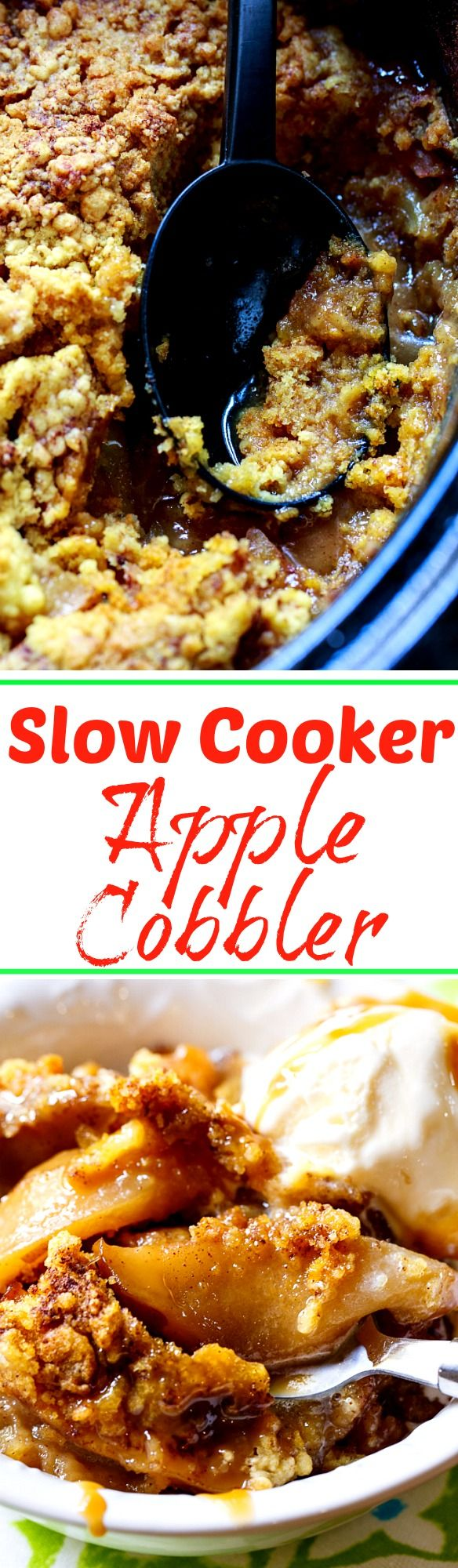 Apple Cobbler made in the crock pot. So easy and only a few ingredients needed!