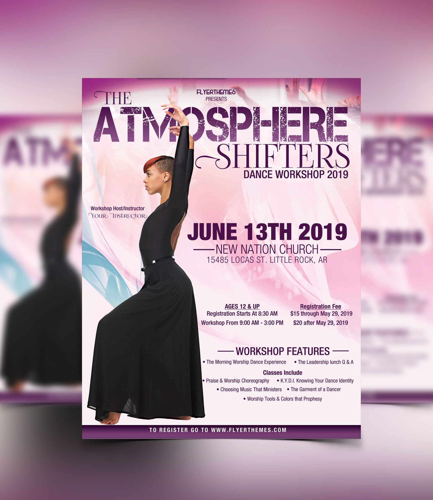 Praise Dance Workshop Flyer Template Flyerthemes  Church Flyer