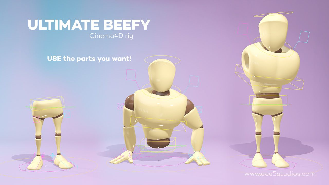 Fully rigged #Beefy4D character for cinema 4D The original