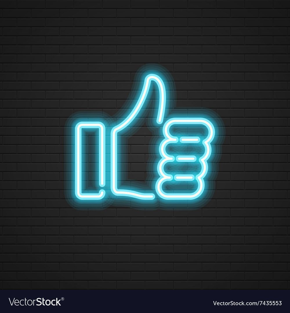 Neon Thumbs Up icon Hand Social media Royalty Free Vector