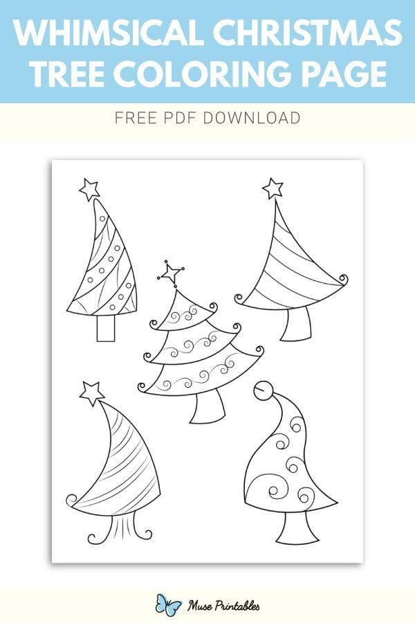 Free printable whimsical Christmas tree coloring page ...