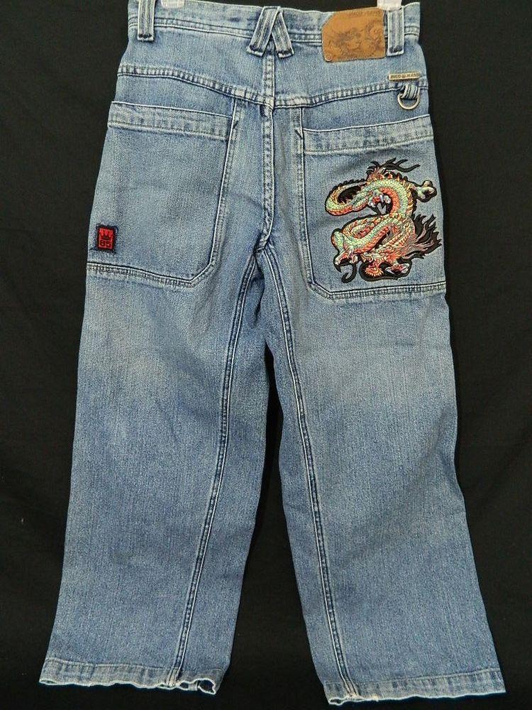 c49c77290 JNCO Boys 16 Mens 29.5x25 Dragon Trendy Blue Denim Loose Baggy Skate Board  Jeans  JNCO  BaggyLoose