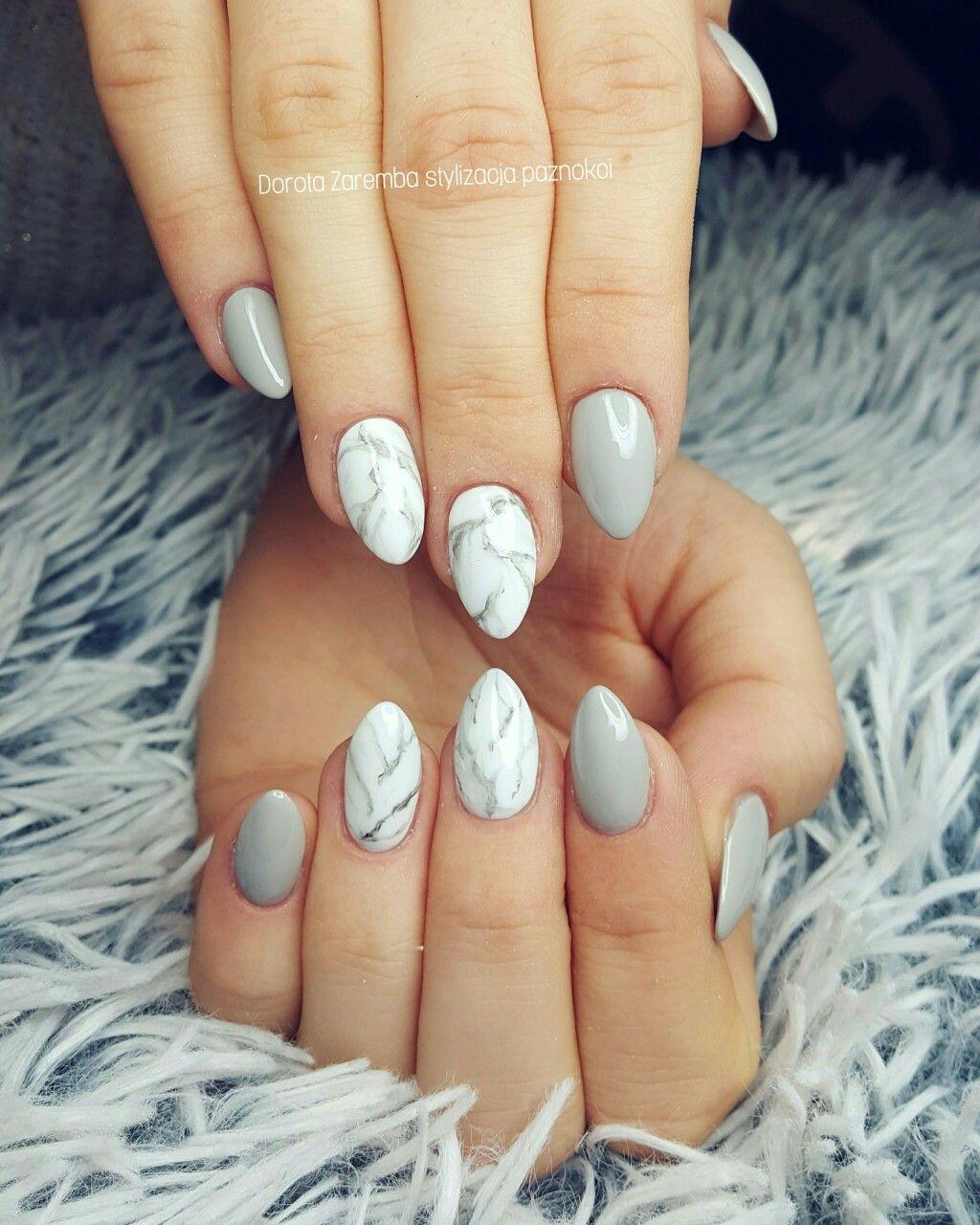 Marble Nails White Nails Grey Nails Marmur Nail Art Glamour Nails