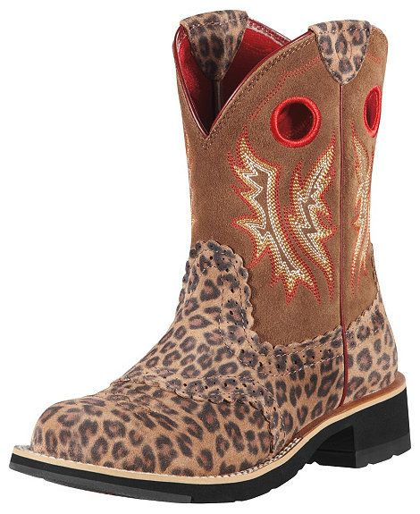 Ariat Fatbaby Leopard Print Cowgirl Boots - Round Toe | Cowgirl ...
