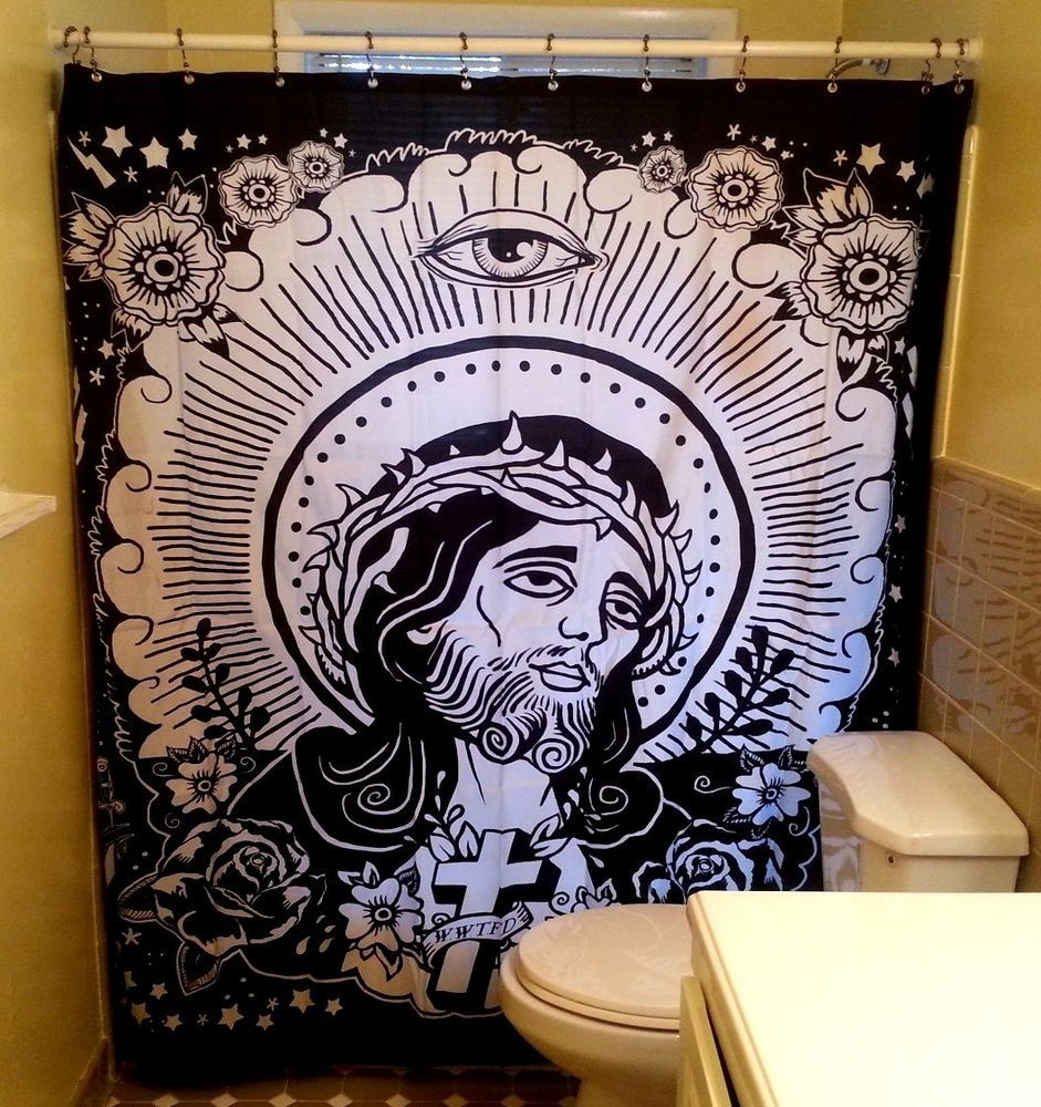 JESUS SHOWER CURTAIN Black White Too Fast Roses Cross Punk God Lord Tattoo Goth