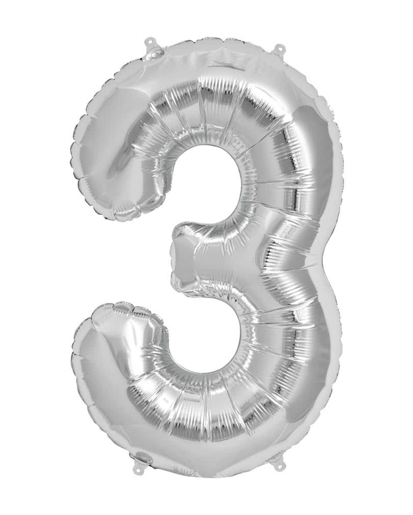 Folienballon Zahl 3 Silber Partydeko Horror Shop Com Partydeko Zahl 3 Folienballon Zahl