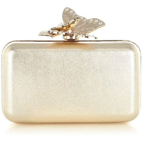 Karen Millen Metallic Butterfly Clutch ($175) ❤ liked on Polyvore