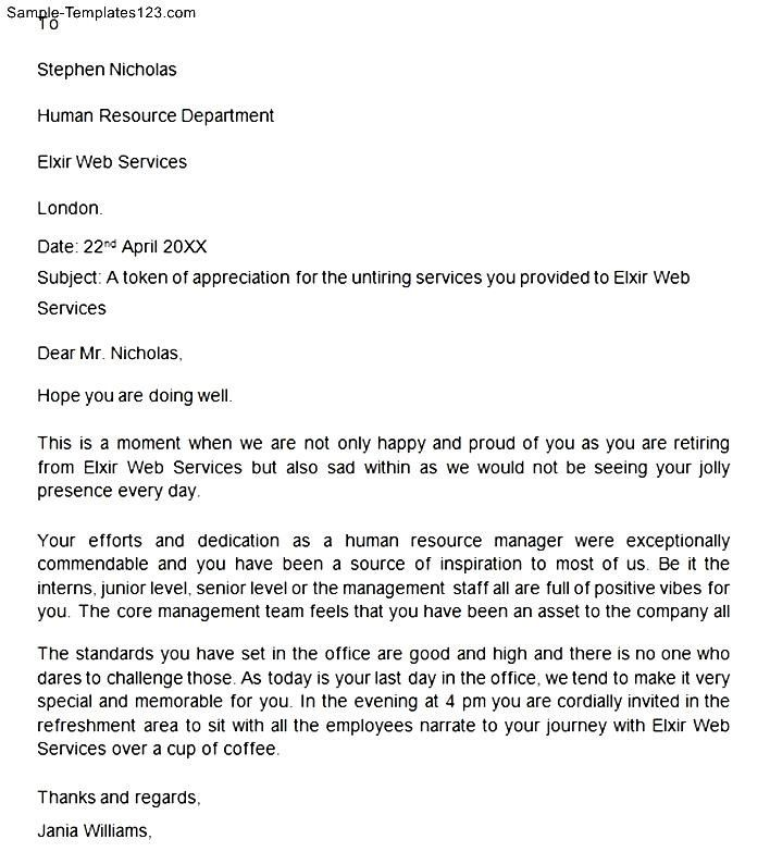 Retirement Letter Appreciation Inspired You And Help What Employee