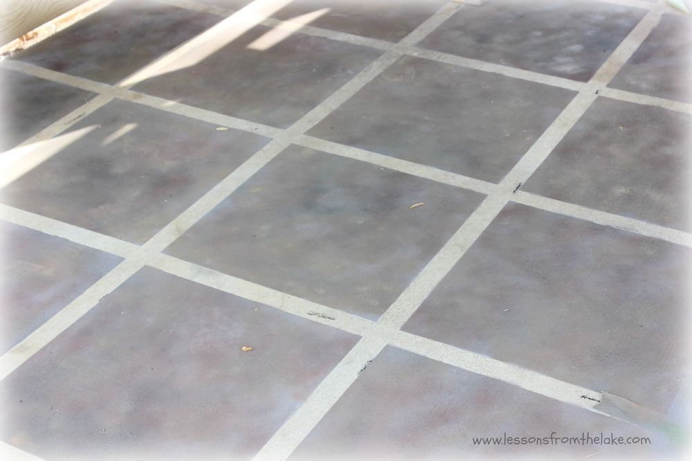 Faux Tile Painted Concrete Floor Outdoor Rooms And Fun Pinterest