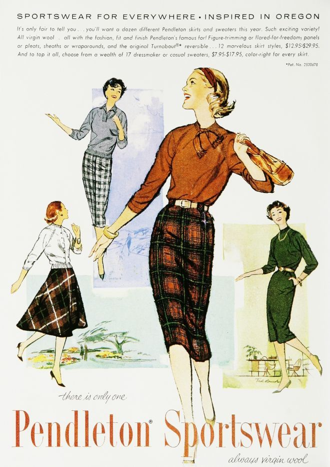 74d9f8791 Sportswear for everywhere! #vintage #fashion #ads #1950s #Pendleton ...