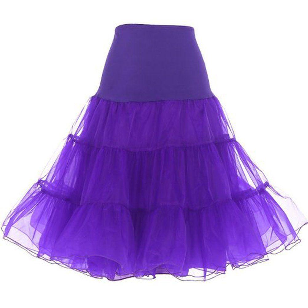 Dressever Women's Vintage 50s Rockabilly Tutu Skirt Net Petticoat at Amazon Women's Clothing store:
