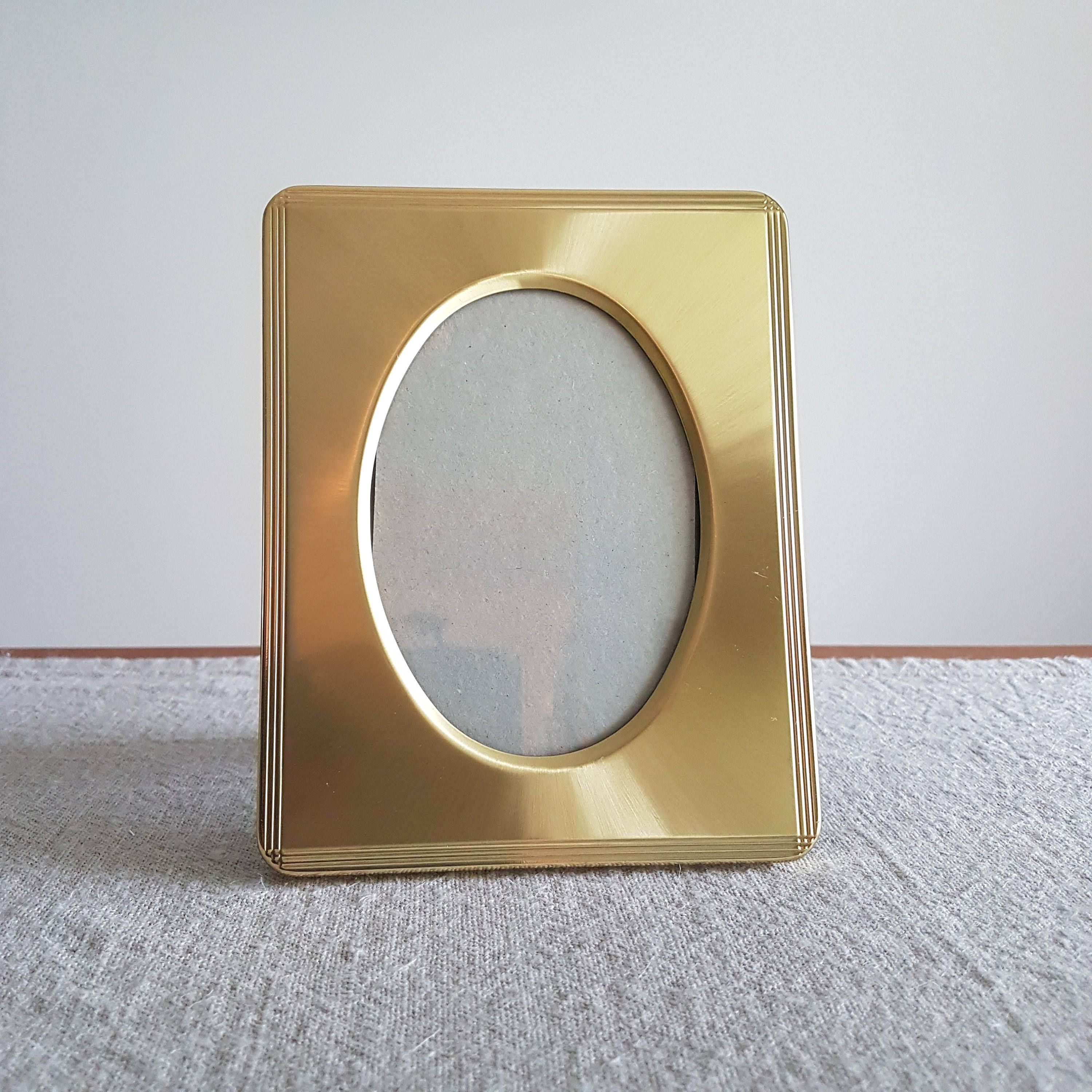 Miniature solid brass picture frame double heart shaped apertures x solid brass oval metal picture frame gold metal photo frame special family photos traditional boho decor 8 x 12 cm by bluechickenvintage on etsy jeuxipadfo Image collections