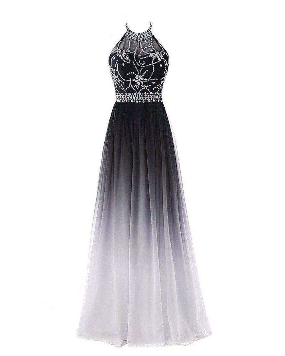 fa04144e8a59a Bealegantom Halter Gradient Prom Dresses With Long Chiffon Plus Size  Evening Party Gowns Vestido Longo