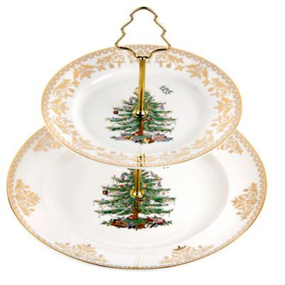 Buy Spode Christmas Tree Gold 2 Tier Cake Stand From Bed Bath Beyond Spode Christmas Tree Spode Christmas Gold Christmas Tree