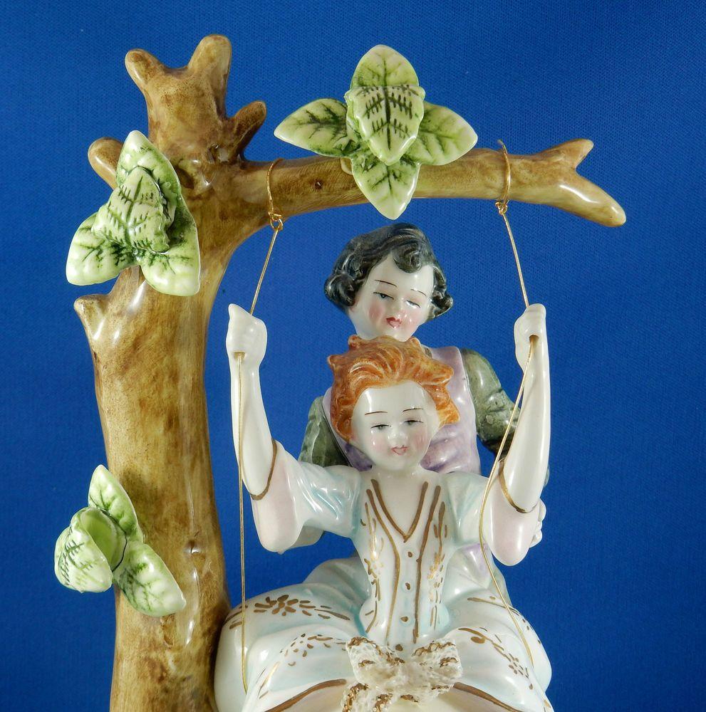 Figurine Porcelain Man Pushing Woman On Swing Crown N Capodimonte Vintage Figurines Porcelain Dolls Porcelain