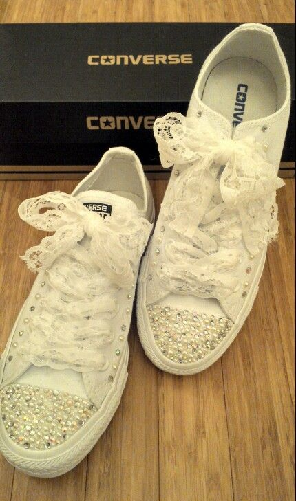 3301cf76628 Crystal and pearl converse with lace shoe laces  ) I really enjoyed doing  these!!