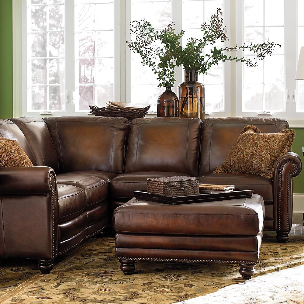 Hand Rubbed Sectional In Brown Leather Couches For Small Spaces Traditional Living Room Furniture Small Sectional Sofa