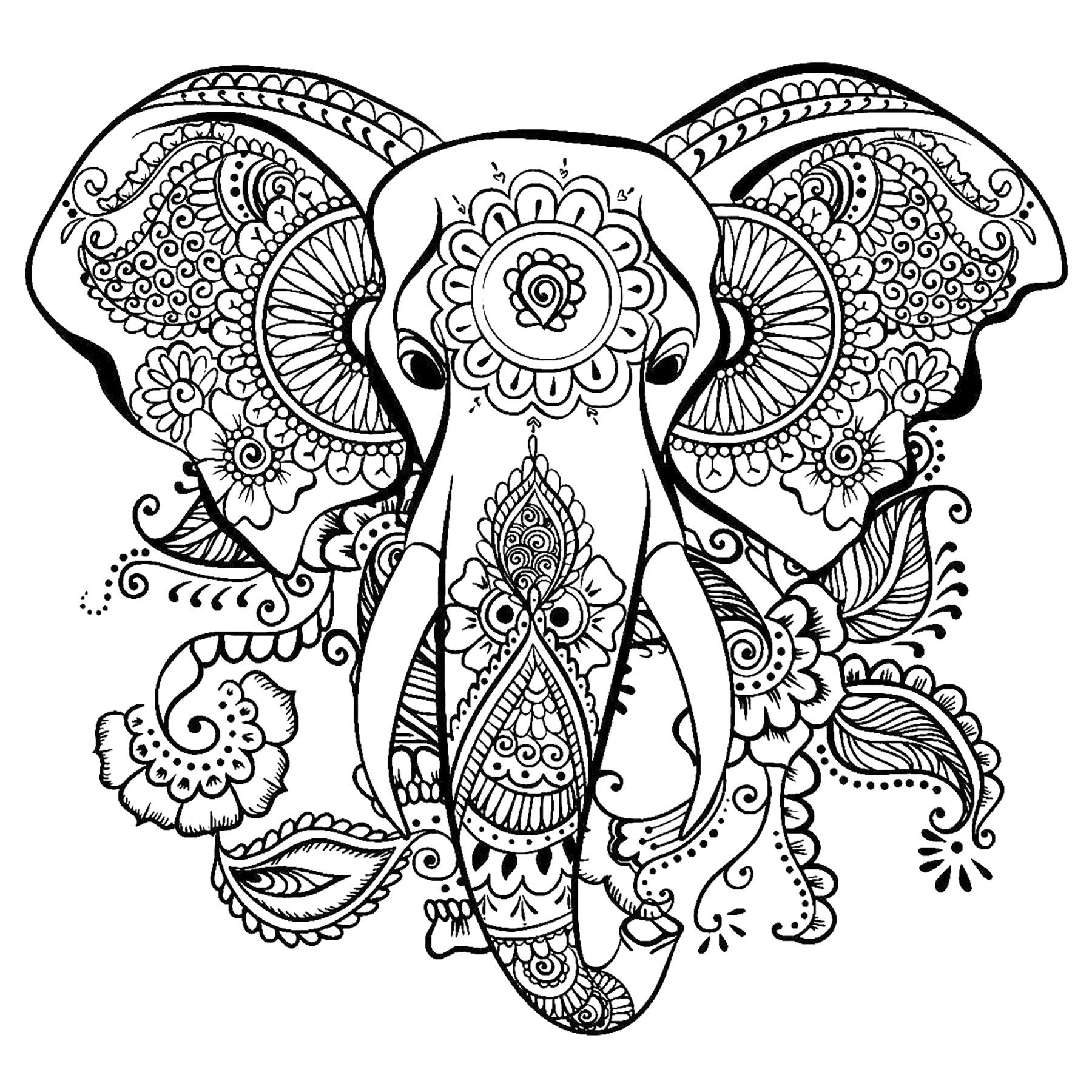 Elegant Drawing Of An Elephant Elephant Head To Color With Beautiful Patterns From The Elephant Coloring Page Mandala Coloring Pages Animal Coloring Pages