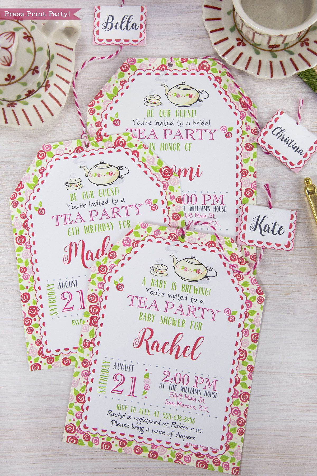 Tea Party Printables, Tea Party Decorations, A Baby is Brewing ...