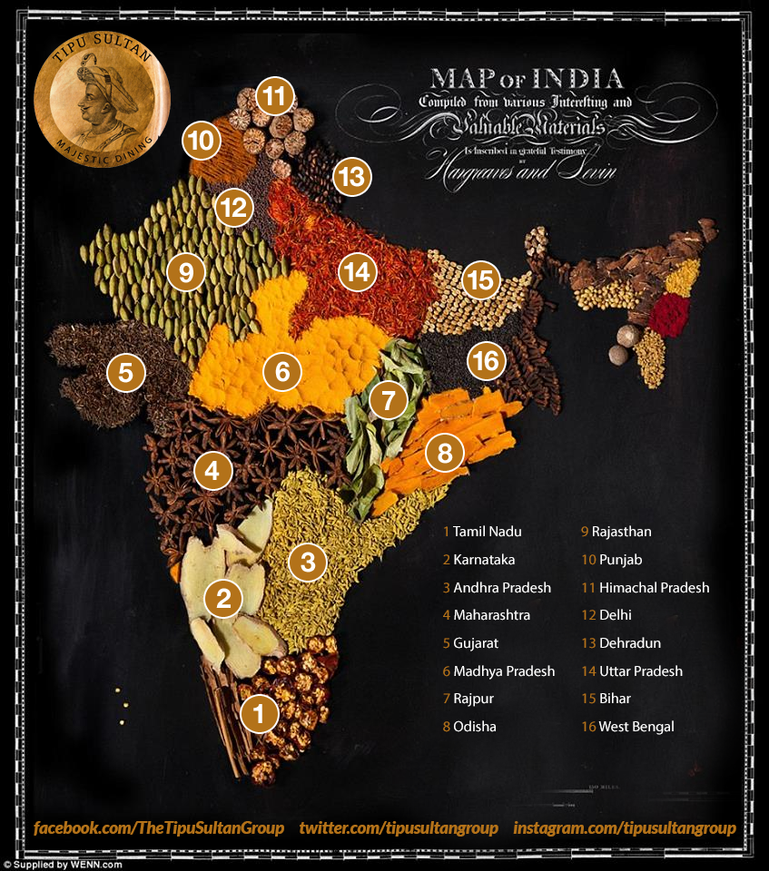 Spice map of India #Spice | Tits | Pinterest