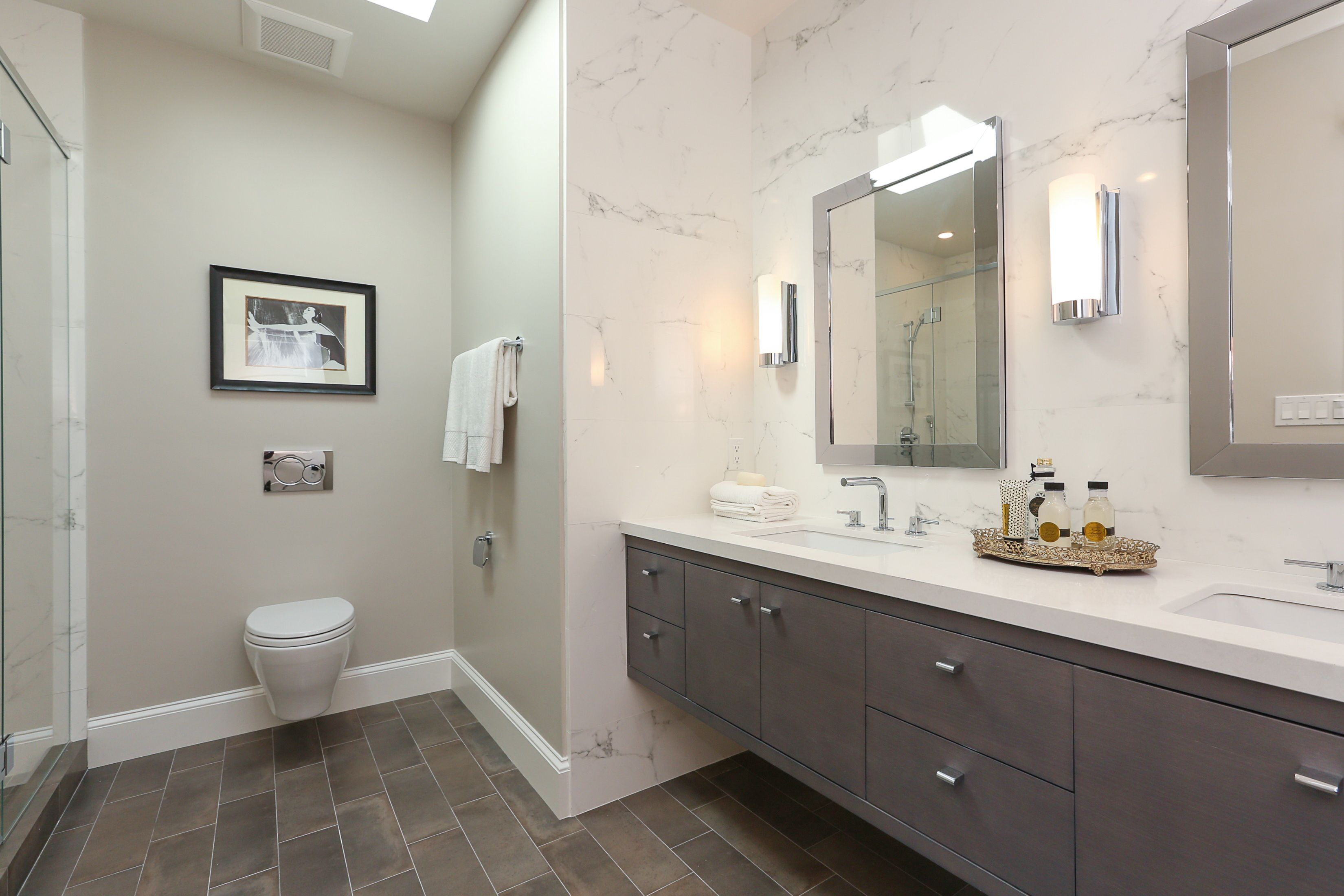 wall hung vanity with stone counter top and under mount sinks rh pinterest com