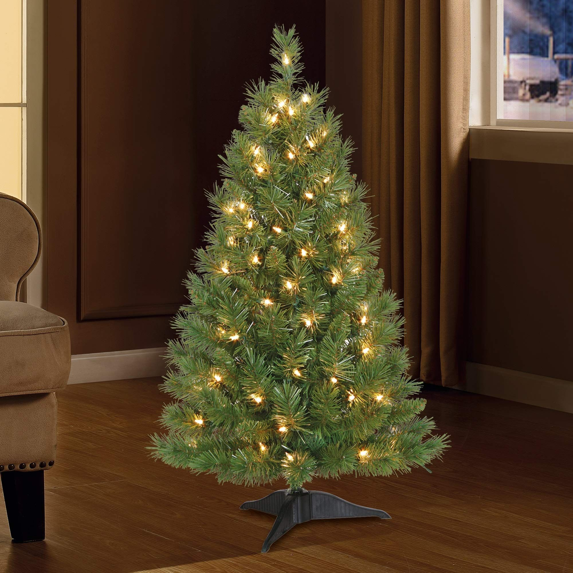 Christmas Tree Artificial 3 Feet Pre Lit Holiday Tabletop