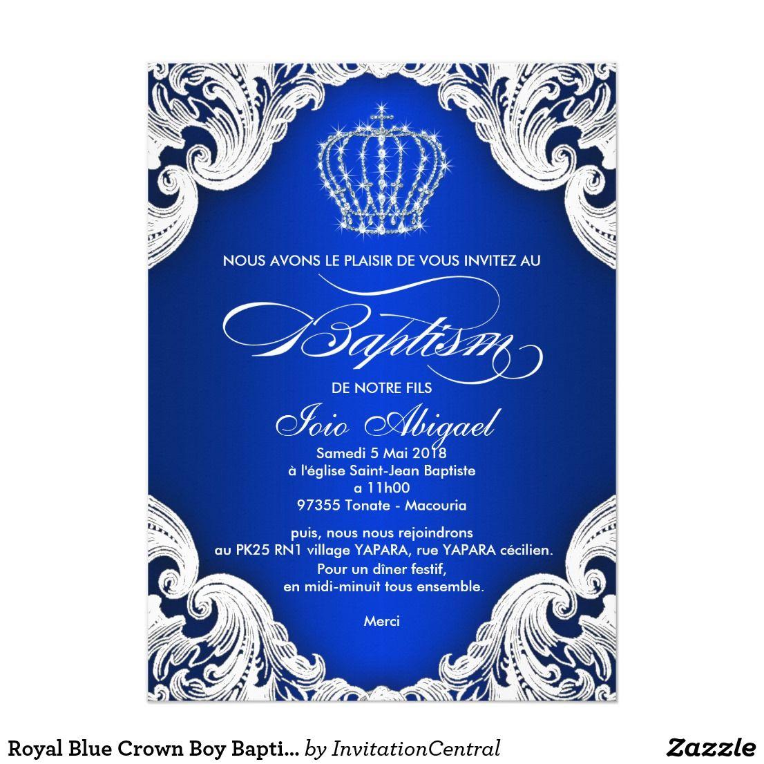 Invitation Bapteme De Garcon De Couronne De Bleu Royal Zazzle Fr