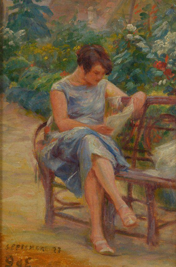 Georges d espagnat lire sur un banc de parc pinterest peintre lus et jardins - Faire l amour sur un banc ...