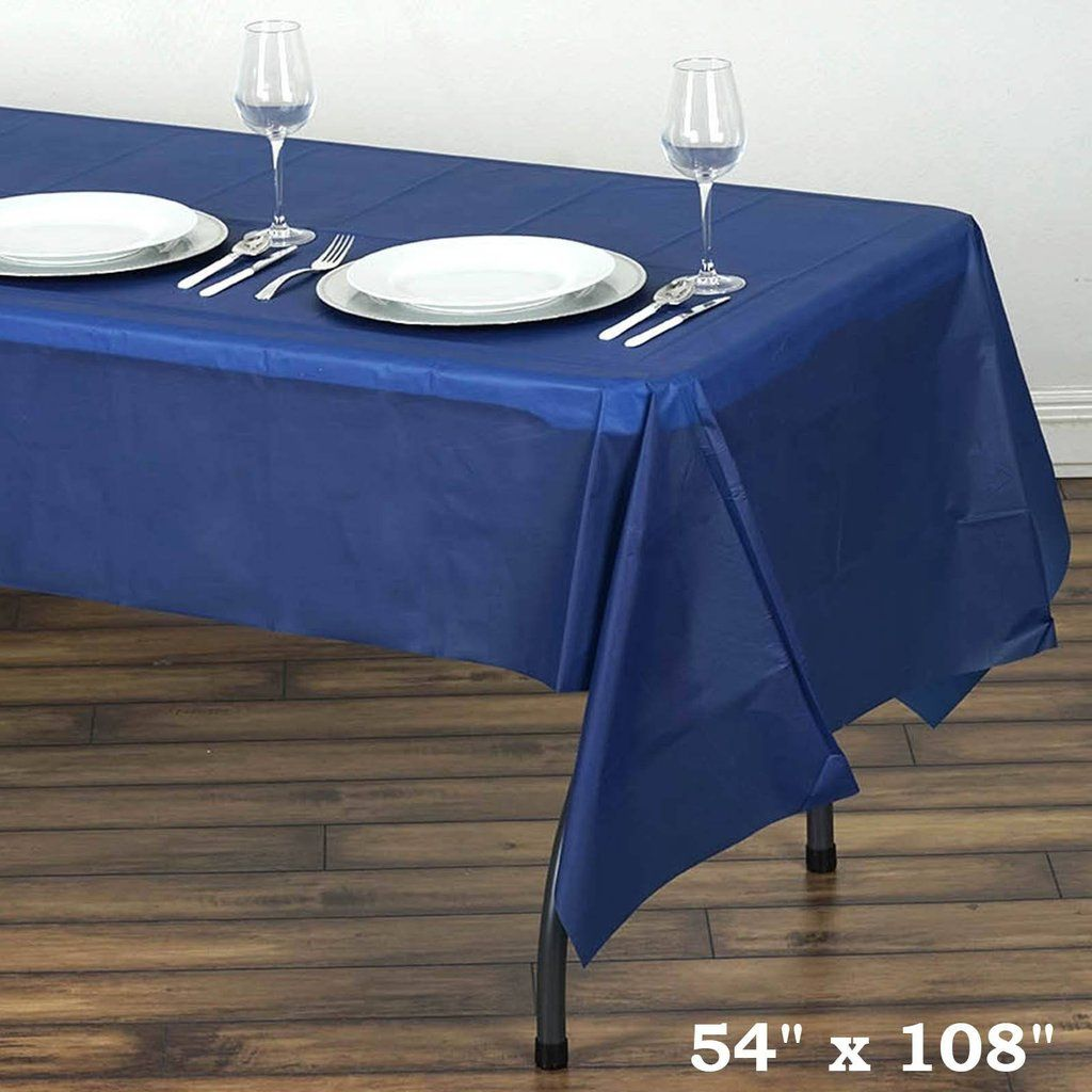 54 X 108 Navy Blue 10 Mil Thick Waterproof Tablecloth Pvc Rectangle Disposable Tablecloth Plastic Table Covers Plastic Tables Affordable Table
