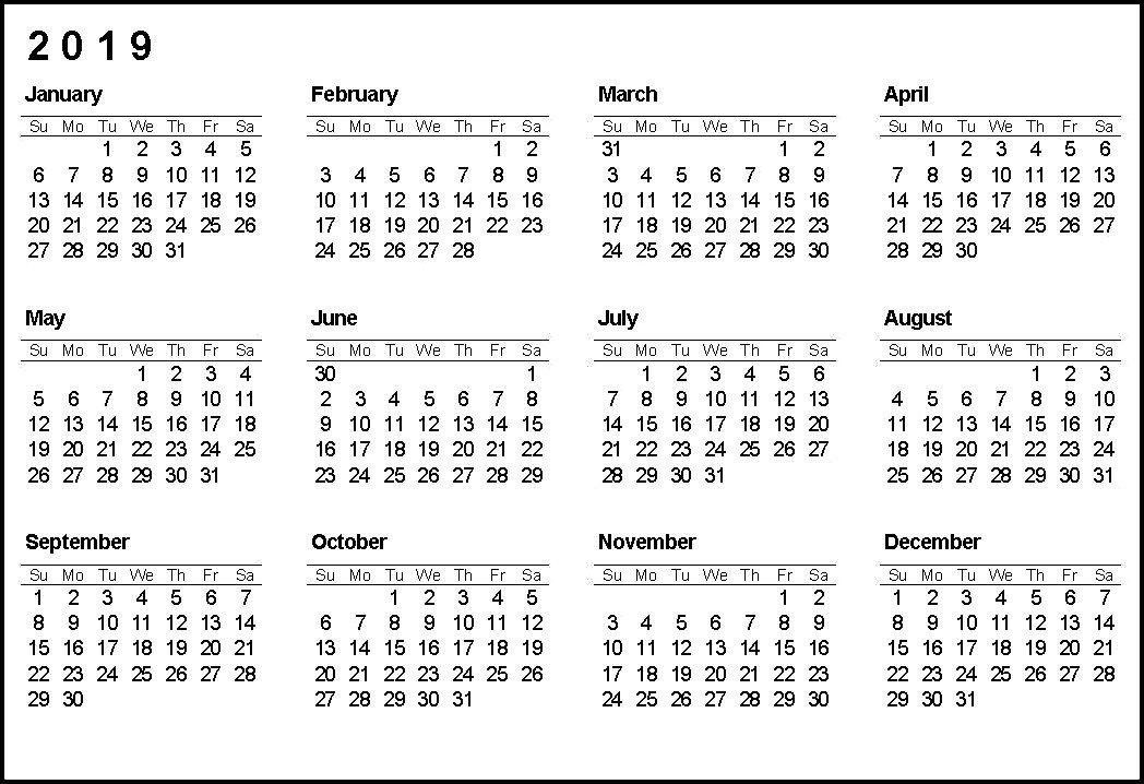 Calendar 2019 Printable #calendar2019 #printablecalendar2019