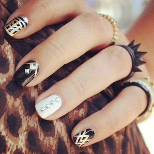 Black, white and silver nail designs