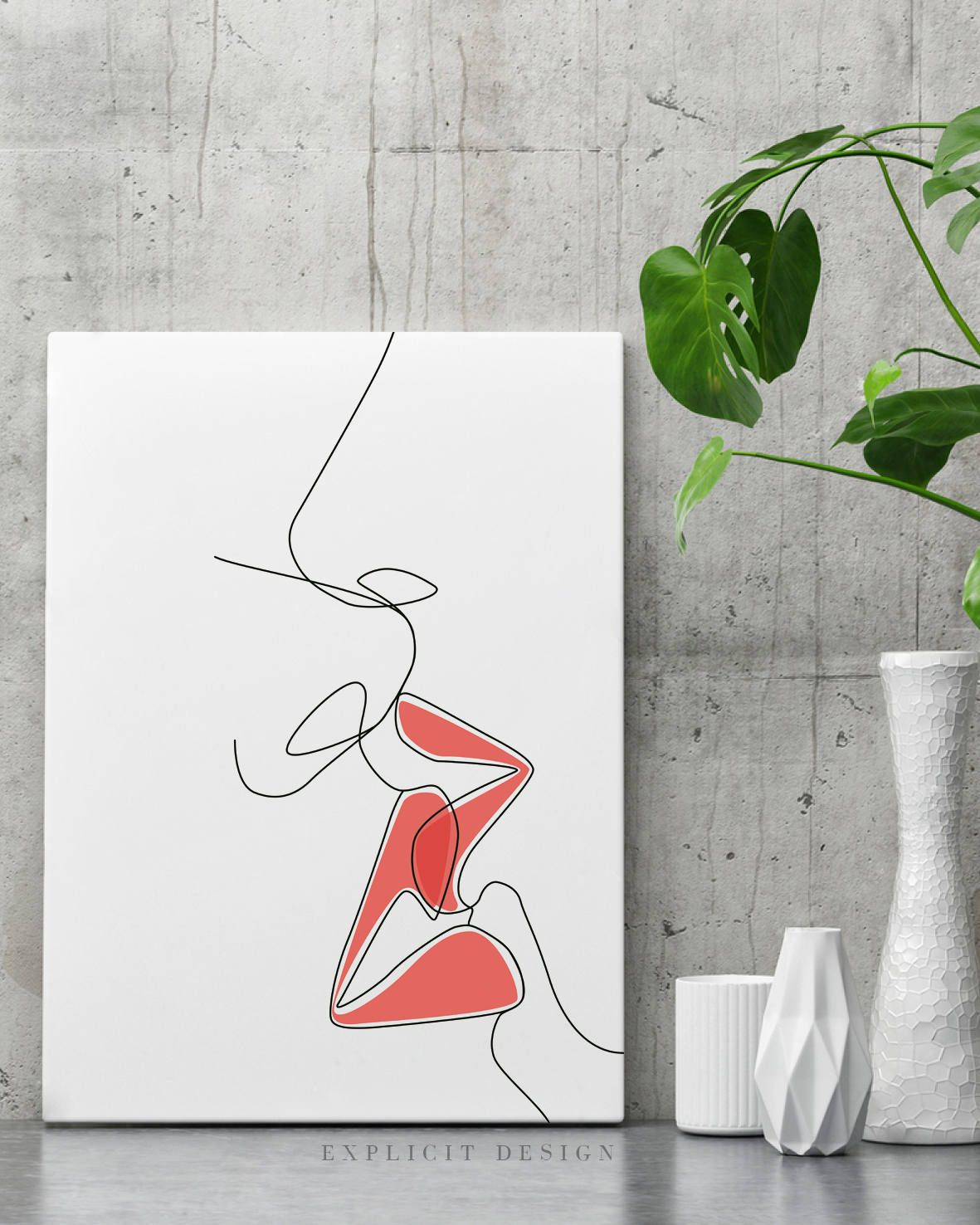Red Lip Kiss Drawing Printable Black Fine One Line Artwork